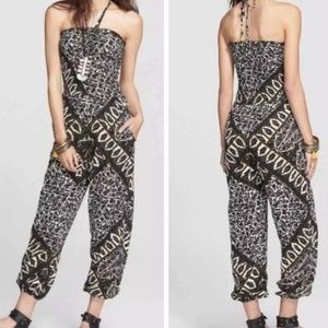 Free People Balloon Gauzy Print Jumpsuit Med